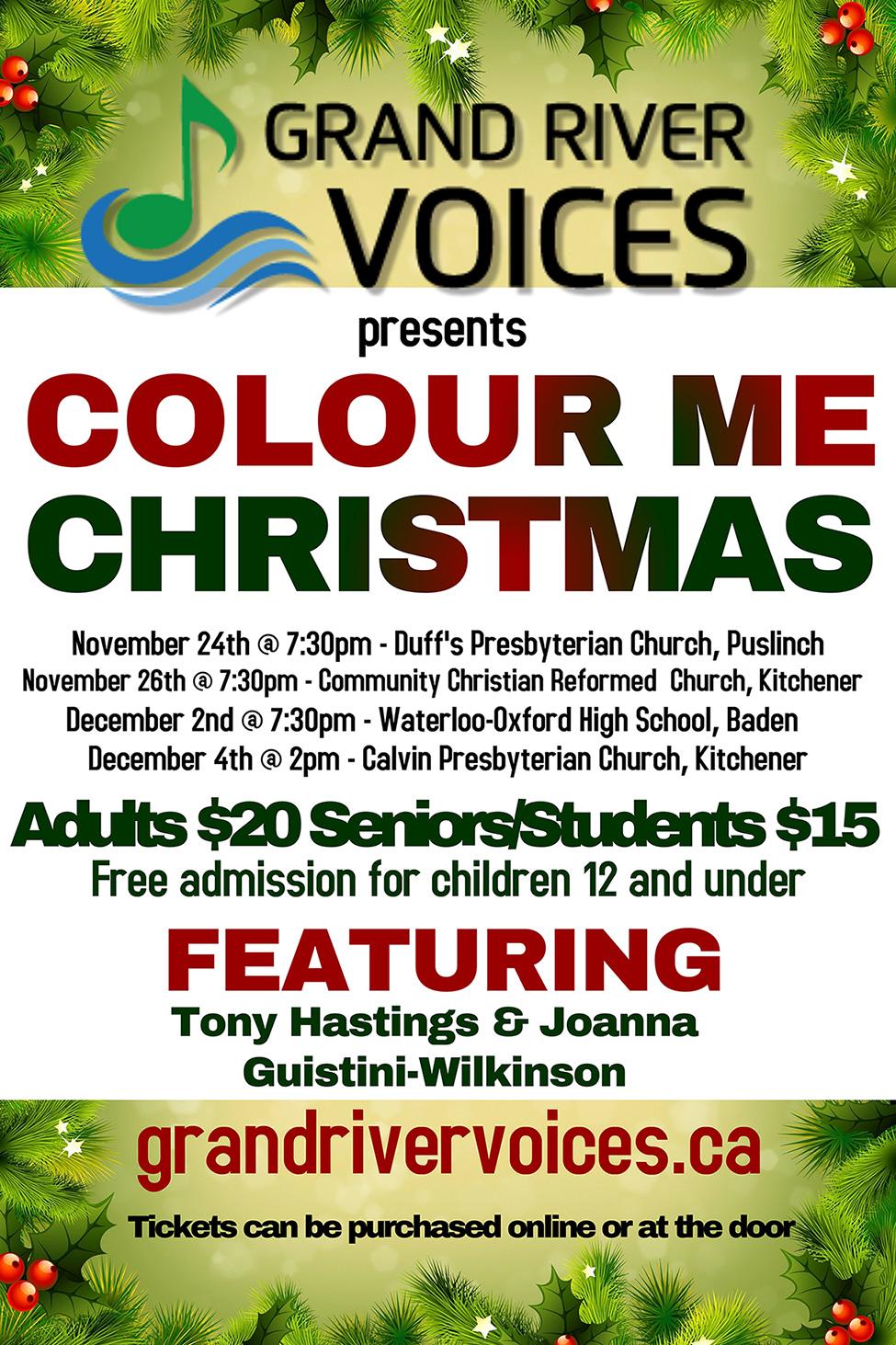 Colour Me Christmas Concert Series 2016 Poster